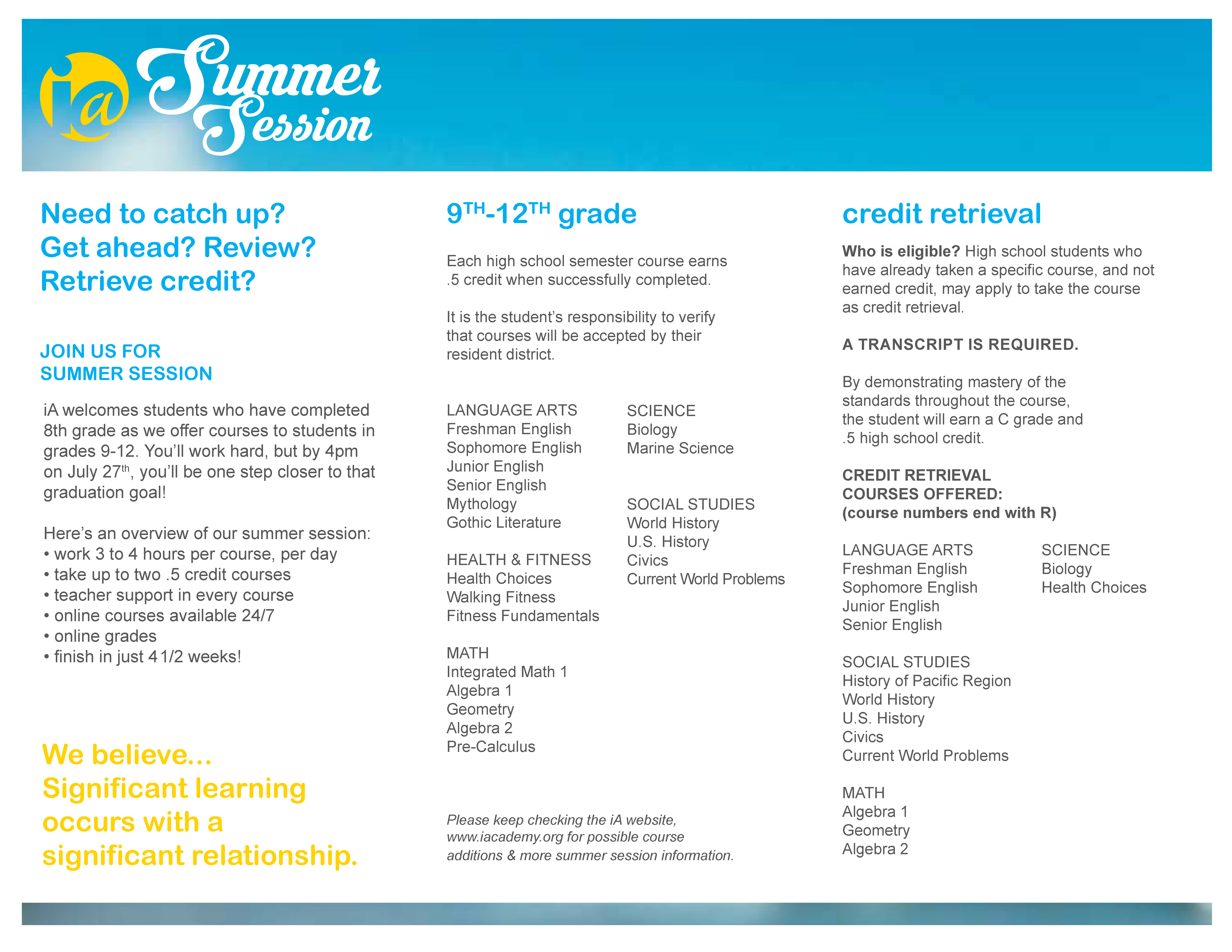 Summer Session 2018 Internet Academy K 12 Online Schooling Since